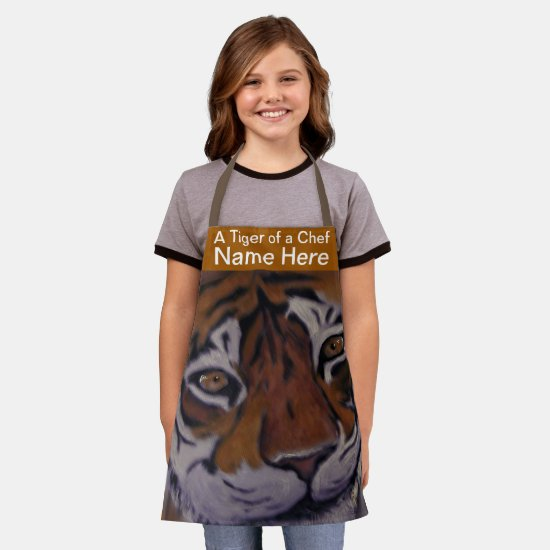 Smiling Tiger Cooking Chef (Name Here) Kids Apron