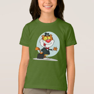 Smiling Tiger Holding A Briefcase Girls T-Shirt