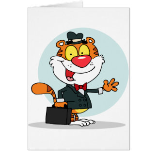 Smiling Tiger Holding A Briefcase Note Cards