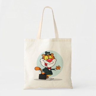 Smiling Tiger Holding A Briefcase Tote Bag