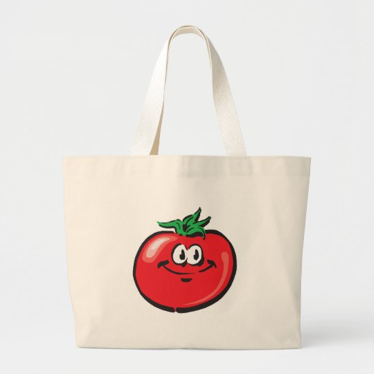 smiling tomato face large tote bag