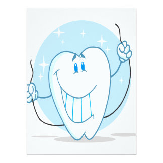 Smiling Tooth Cartoon Character Always Floss 6.5x8.75 Paper Invitation Card