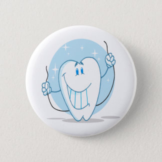 Smiling Tooth Cartoon Character Always Floss Pinback Button