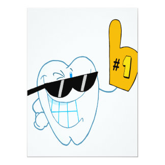 Smiling Tooth Cartoon Character Number One 6.5x8.75 Paper Invitation Card
