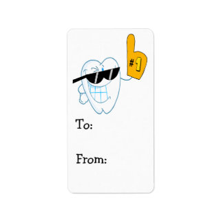Smiling Tooth Cartoon Character Number One Personalized Address Labels