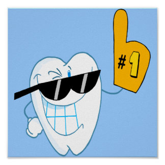 Smiling Tooth Cartoon Character Number One Print