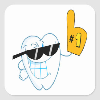 Smiling Tooth Cartoon Character Number One Square Sticker