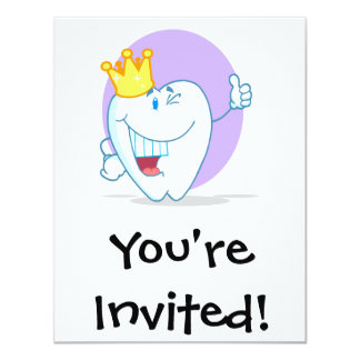 Smiling Tooth Cartoon Character With Golden Crown 4.25x5.5 Paper Invitation Card