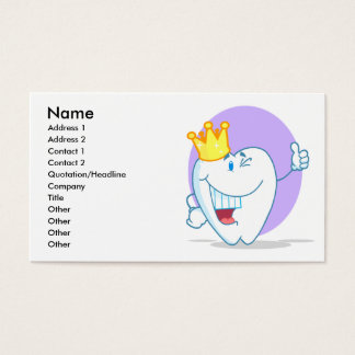 Smiling Tooth Cartoon Character With Golden Crown Business Card