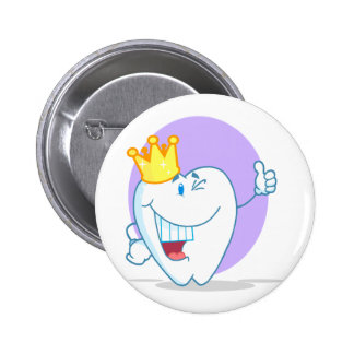 Smiling Tooth Cartoon Character With Golden Crown Button