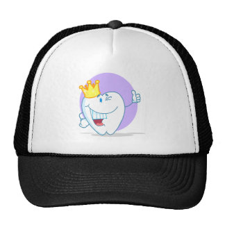 Smiling Tooth Cartoon Character With Golden Crown Mesh Hats