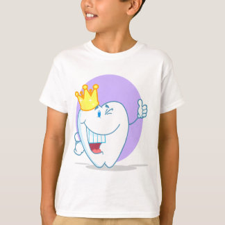 Smiling Tooth Cartoon Character With Golden Crown T-Shirt