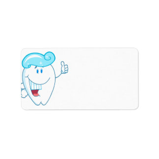 Smiling Tooth Cartoon Character With Toothpaste On Address Label