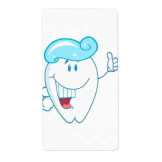 Smiling Tooth Cartoon Character With Toothpaste On Shipping Label