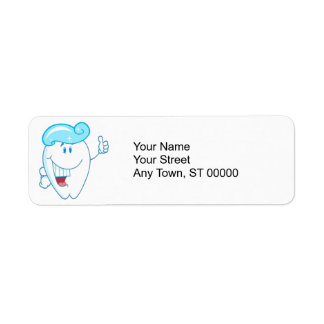 Smiling Tooth Cartoon Character With Toothpaste On Return Address Label