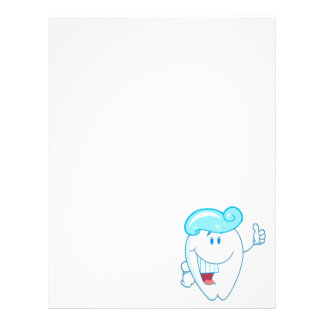 Smiling Tooth Cartoon Character With Toothpaste On Letterhead