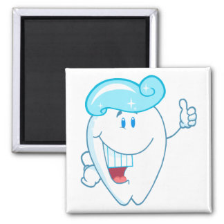 Smiling Tooth Cartoon Character With Toothpaste On Magnets
