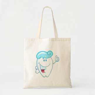 Smiling Tooth Cartoon Character With Toothpaste On Tote Bag