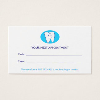 Smiling Tooth Dentist Office Appointment Reminder Business Card