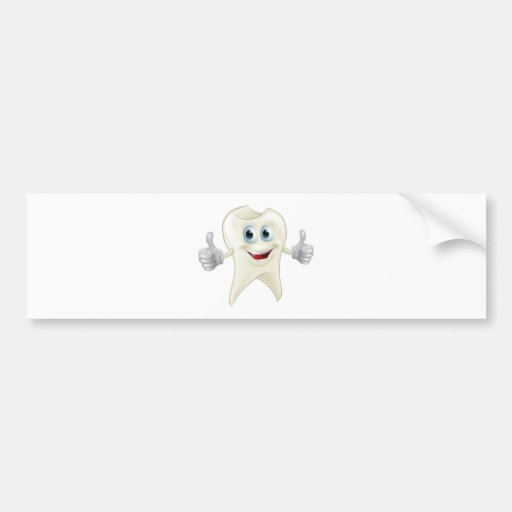 Smiling tooth mascot bumper stickers