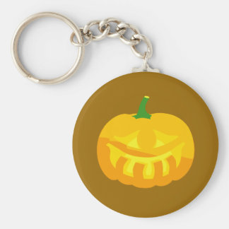 Smiling toothy Jack-O-'Lantern Basic Round Button Keychain
