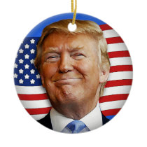 Smiling Trump Ceramic Ornament