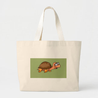 Smiling Turtle Cartoon on Green Background Bags