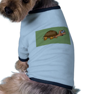 Smiling Turtle Cartoon on Green Background Dog Shirt