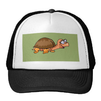 Smiling Turtle Cartoon on Green Background Mesh Hats