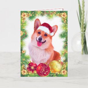 smiling welsh christmas corgi holiday card - Christmas Corgi