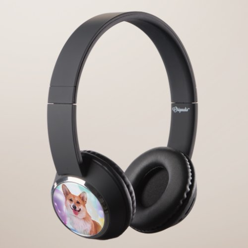 Smiling Welsh Corgi Headphones