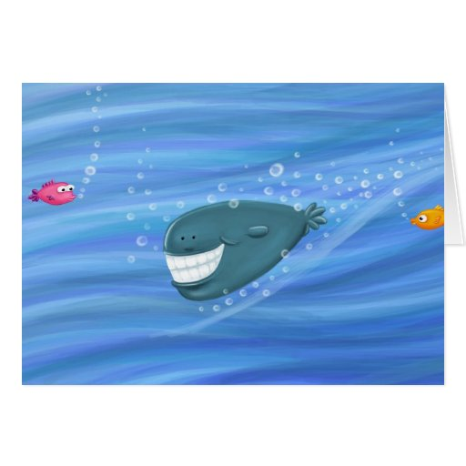Smiling whale greeting card