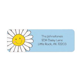 Smiling Whimsical Daisy Return Address Label