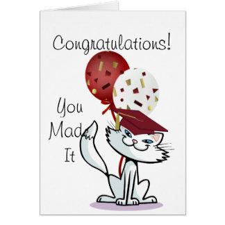 Smiling White Cat Graduate Card