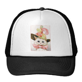 Smiling White Cat With Hat