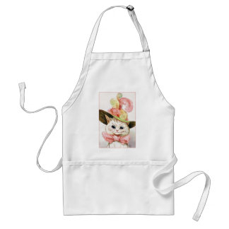 Smiling White Cat With Hat Adult Apron