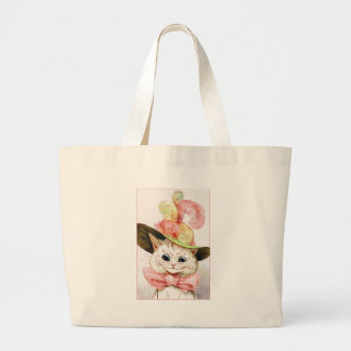 Smiling White Cat With Hat Tote Bags
