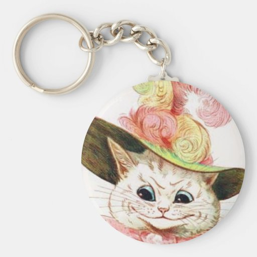 Smiling White Cat With Hat Basic Round Button Keychain