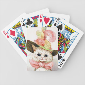 Smiling White Cat With Hat Deck Of Cards