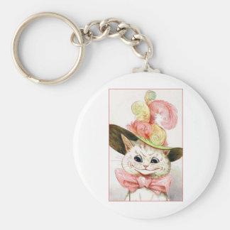 Smiling White Cat With Hat Keychain