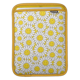 Smiling White Daisies Pattern iPad Sleeve