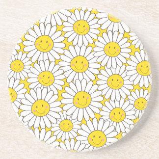 Smiling White Daisies Pattern Sandstone Coaster