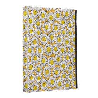 Smiling White Daisies Summery Pattern iPad Folio Cover