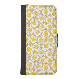 Smiling White Daisies Summery Pattern iPhone SE/5/5s Wallet Case