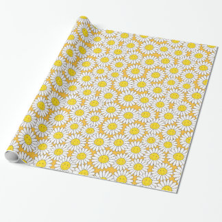 Smiling White Daisies Summery Pattern Wrapping Paper