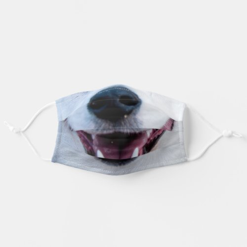 Smiling white dog puppy nose and mouth cloth face mask
