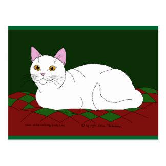 Smiling White Kitty Postcard