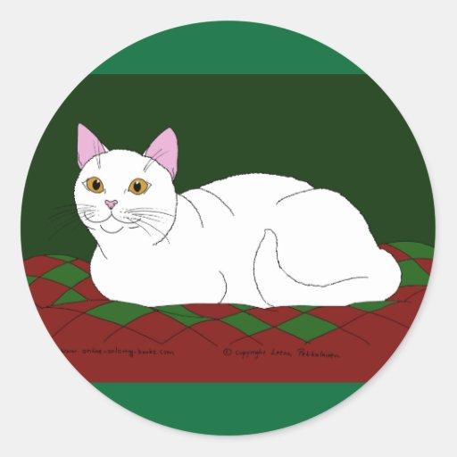 Smiling White Kitty Sticker