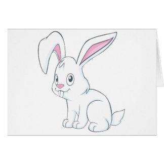 Smiling White Rabbit Card