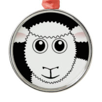 Smiling White Sheep Face Metal Ornament